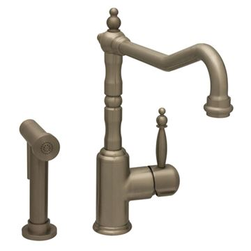 Whitehaus Jem Single Hole Kitchen Faucet - Traditional Spout & Sprayer