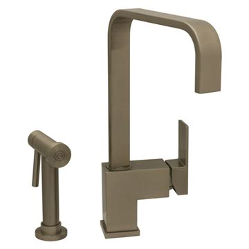 Whitehaus Jem Single Hole Square Kitchen Faucet with Sprayer