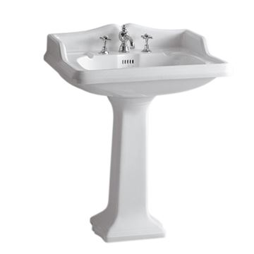 Whitehaus Large Traditional China Pedestal Bathroom Sink