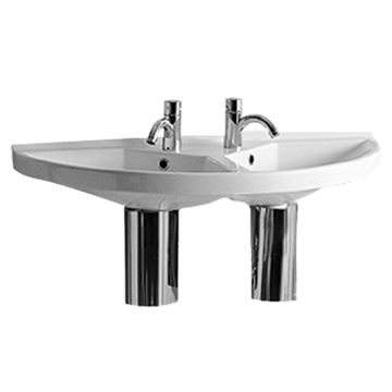 Whitehaus Large U-Shaped Double Basin Wall Mount Lavatory Sink