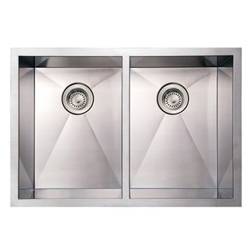 Whitehaus Noah 29 Inch Stainless Double Bowl Undermount Kitchen Sink