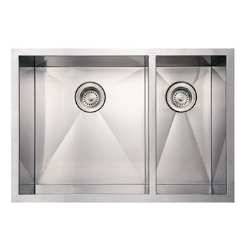 Whitehaus Noah 29 Inch Stainless Offset Double Bowl Undermount Kitchen Sink
