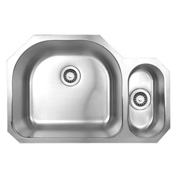 Whitehaus Noah 31 1/2 Inch Stainless Double Bowl Disposal Kitchen Sink