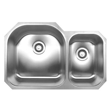 Whitehaus Noah 31 1/2 Inch Stainless Double Bowl Undermount Kitchen Sink