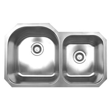 Whitehaus Noah 31 7/8 Inch Stainless Double Bowl Undermount Kitchen Sink