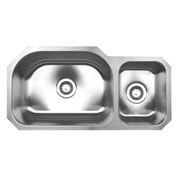Whitehaus Noah 32 3/4 Inch Stainless Double Bowl Undermount Kitchen Sink