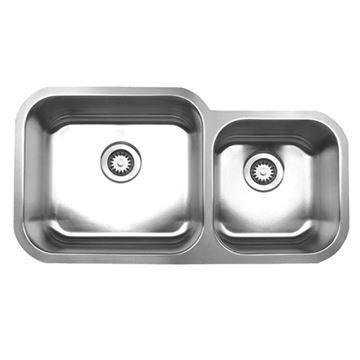 Whitehaus Noah 33 1/2 Inch Stainless Double Bowl Undermount Kitchen Sink