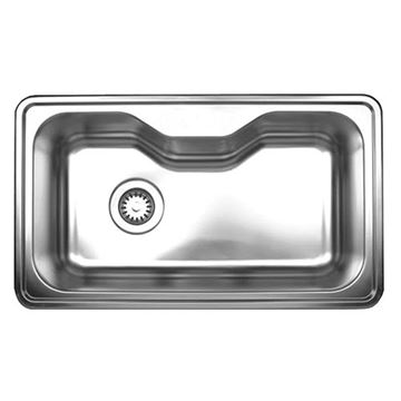 Whitehaus Noah 33 1/2 Inch Stainless Single Bowl Center Kitchen Sink