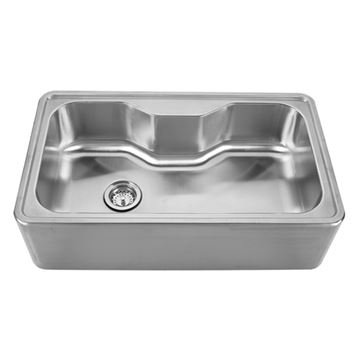 Whitehaus Noah 33 1/2 Inch Stainless Steel Single Center Apron Kitchen Sink