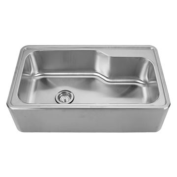 Whitehaus Noah 33 1/2 Inch Stainless Steel Right Hand Deck Single Bowl Apron Drop In Kitchen Sink