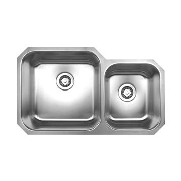 Whitehaus Noah 33 5/8 Inch Stainless Double Bowl Undermount Kitchen Sink