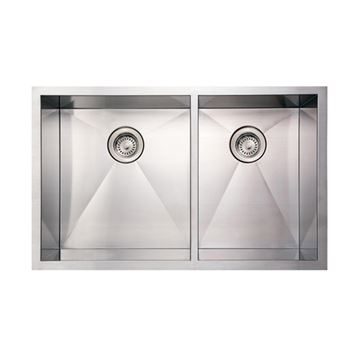 Whitehaus Noah 33 Inch Stainless Double Bowl Undermount Kitchen Sink