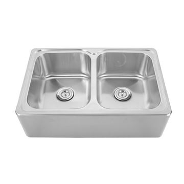 Whitehaus Noah 33 Inch Stainless Double Bowl Apron Kitchen Sink