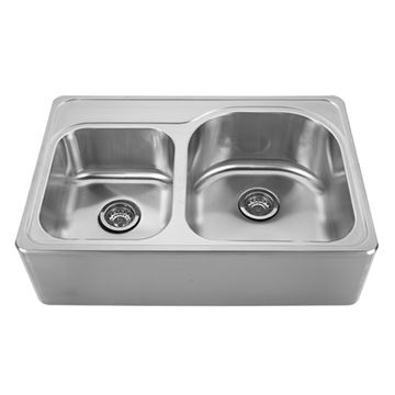 Whitehaus Noah 33 Inch Stainless Double Offset Bowl Apron Kitchen Sink