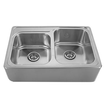 Whitehaus Noah 33 Inch Stainless Steel Apron Double Bowl Drop In Kitchen Sink