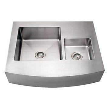Whitehaus Noah 36 Inch Stainless Double Bowl Apron Front Kitchen Sink