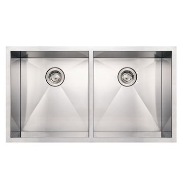 Whitehaus Noah 37 Inch Stainless Double Bowl Undermount Kitchen Sink