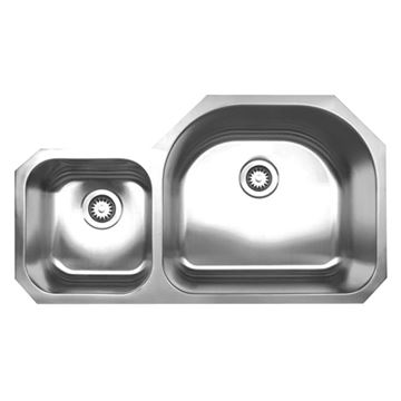 Whitehaus Noah 37 Inch Stainless Double Offset Bowl Undermount Kitchen Sink