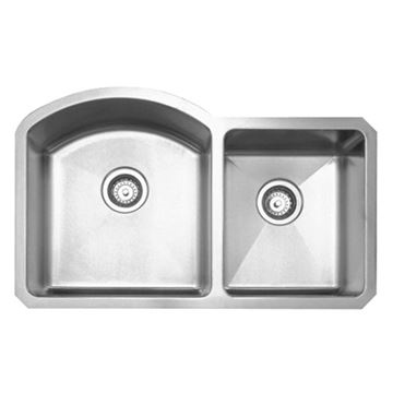 Whitehaus Noah Chefhaus Curved Double Bowl Undermount Kitchen Sink