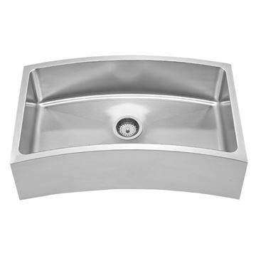 Whitehaus Noah Chefhaus Curved Stainless Single Undermount Apron Kitchen Sink