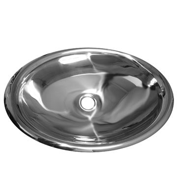 Whitehaus Noah Mirrored Stainless Oval Drop In Lavatory Sink