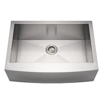 Whitehaus Noah Stainless Arched Apron Single Bowl Kitchen Sink