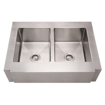Whitehaus Noah Stainless Notched Apron Double Bowl Kitchen Sink