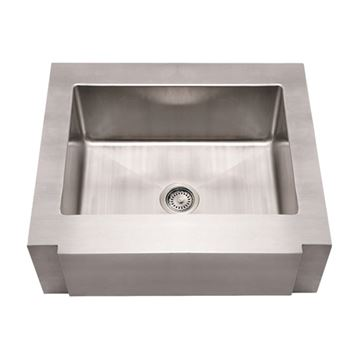 Whitehaus Noah Stainless Notched Apron Single Bowl Kitchen Sink