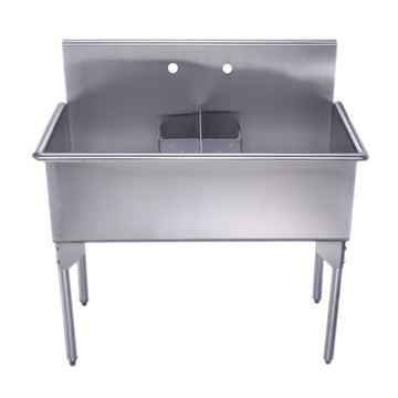 Whitehaus Pearlhaus Stainless Steel Double Freestanding Utility Sink