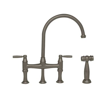 Whitehaus Queenhaus Single Hole Gooseneck Bridge Kitchen Faucet With Sprayer - Metal Lever