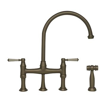 Whitehaus Queenhaus Single Hole Gooseneck Bridge Kitchen Faucet With Sprayer - Porcelain Lever