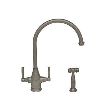 Whitehaus Queenhaus Single Hole Gooseneck Kitchen Faucet with Sprayer