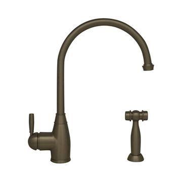 Whitehaus Queenhaus Metal Lever Gooseneck Kitchen Faucet & Sprayer