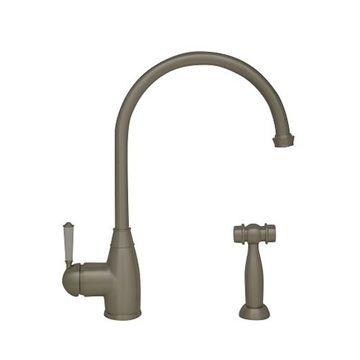 Whitehaus Queenhaus Single Hole Gooseneck Kitchen Faucet & Sprayer