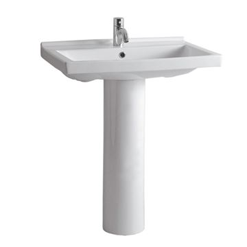 Whitehaus Rectangular China Basin Lavatory Sink With Tubular Pedestal