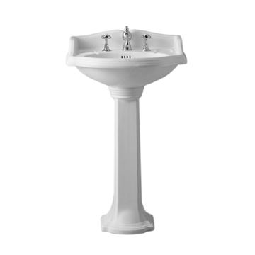 Whitehaus Small Traditional China Pedestal Bathroom Sink