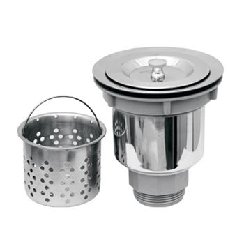 Whitehaus Stainless Steel 3 1/2 Inch Strainer Drain - Removable Basket