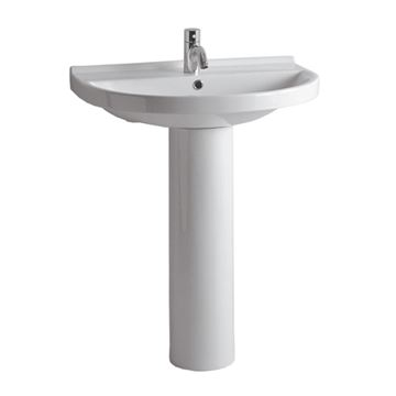 Whitehaus U-Shaped Lavatory Sink With Tubular Pedestal