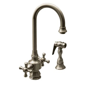 Whitehaus Vintage Iii Cross Handle Single Hole Gooseneck Bar Prep Faucet With Sprayer