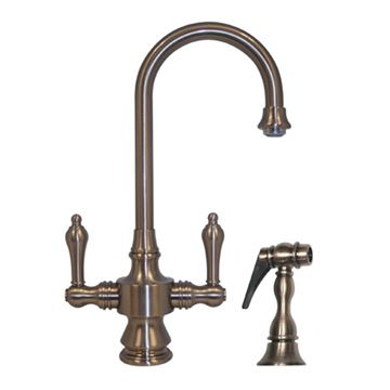 Whitehaus Vintage Lever Handle Gooseneck Bar Prep Faucet With Sprayer