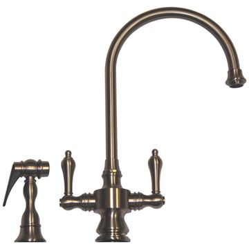 Whitehaus Vintage Iii Lever Handle Single Hole Gooseneck Kitchen Faucet With Sprayer