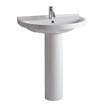 Whitehaus Widespread China Pedestal Lavatory Sink
