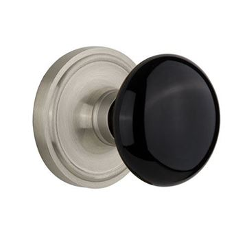 Nostalgic Warehouse Classic Plate Door Set with Black Porcelain Knobs