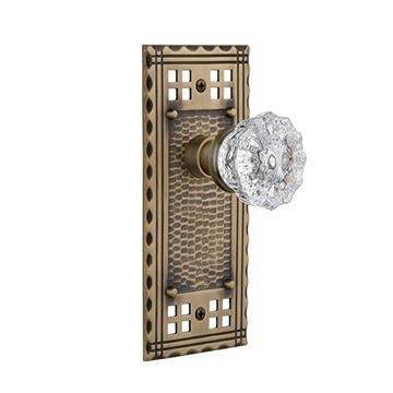 Nostalgic Warehouse Craftsman Plate Door Set with Crystal Glass Knobs