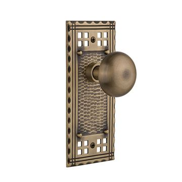 Nostalgic Warehouse Craftsman Plate Door Set with New York Knobs