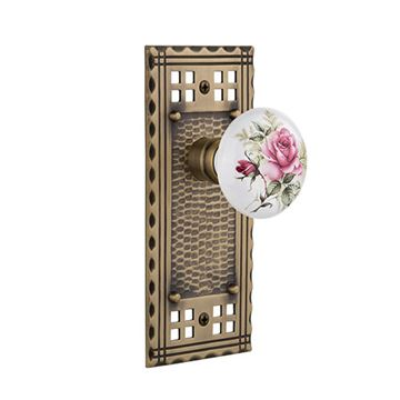 Nostalgic Warehouse Craftsman Plate Door Set - White Rose Porcelain