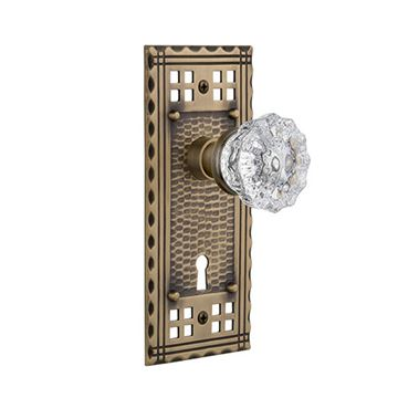 Nostalgic Warehouse Craftsman Interior Mortise Door Set - Crystal Glass