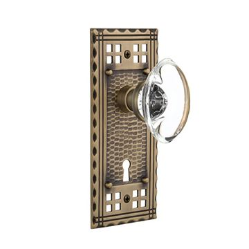 Nostalgic Warehouse Craftsman Plate Interior Mortise Door Set With Oval Clear Crystal Glass Knobs