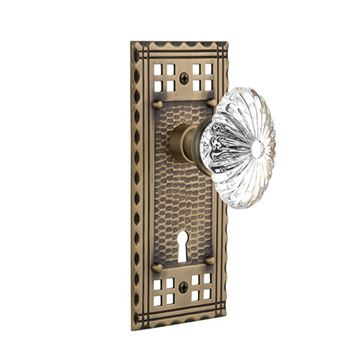 Nostalgic Warehouse Craftsman Plate Interior Mortise Door Set With Oval Fluted Crystal Glass Knobs