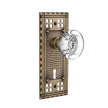Nostalgic Warehouse Craftsman Plate Interior Mortise Door Set With Round Clear Crystal Glass Knobs